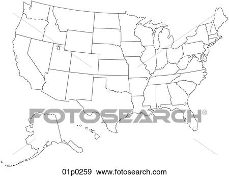 Flat Us Map.Clip Art Of Us Map Flat 01p0259 Search Clipart Illustration
