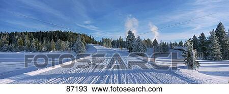 Winter Road Yellowstone National Park Ca Stock Image 87193