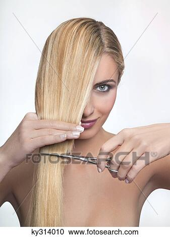 Stock Photography Of Young Woman Cutting Hair Ky314010 Search