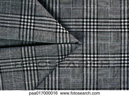 Black And White Plaid Fabric Close Up Full Frame Stock Photograph