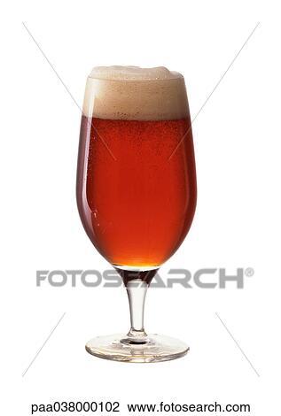 Archivio Fotografico Birra Inglese Marrone In Bicchiere Tolto