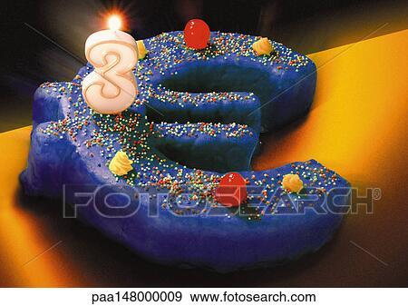 Archivio Illustrazioni Segno Euro Torta Compleanno Numero Tre