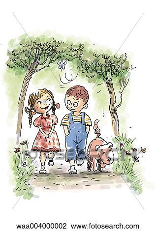 Amitié Dessin dessin, enfants, enfance, ami, amis, amitié, enfant clipart waa004000002