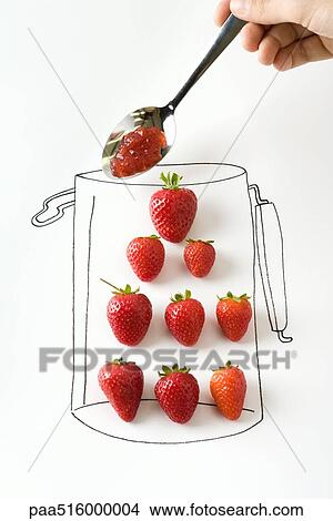 Hand Holding Spoonful Of Jam Over Strawberries In Drawing Jar