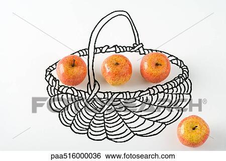 banque d 39 images pommes dans dessin de panier paa516000036 recherchez des photos des. Black Bedroom Furniture Sets. Home Design Ideas