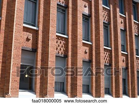Stock Image of Apartment building made of red brick faa018000005 ...
