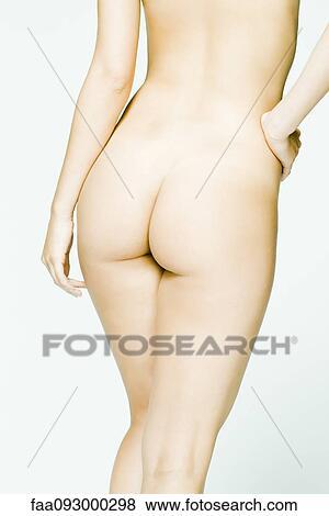 9975f156bea 누드 여자, 엉덩이에손, 후부의 보기