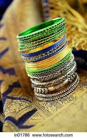 Still life with Indian bangles and sari Stock Photograph