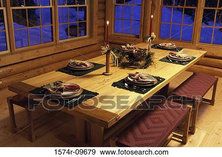 Dining Table Set For A Christmas Dinner