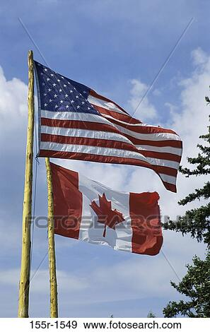 1f9dae8ff26 Stock Photograph of American flag and the Canadian flag 155r-1549 ...