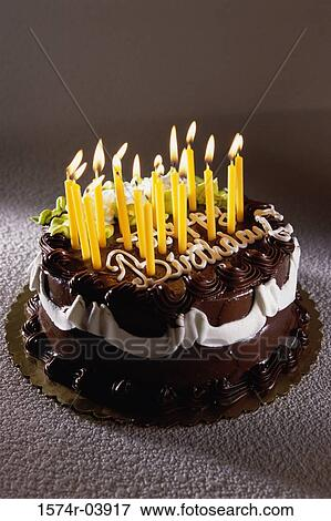Magnificent Decorated Birthday Cake With Lit Candles Stock Photo 1574R 03917 Personalised Birthday Cards Veneteletsinfo