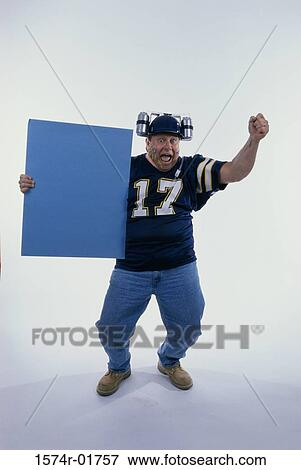 sports fan clipart cartoon picture portrait of sports fan holding blank board fotosearch search stock board 1574r