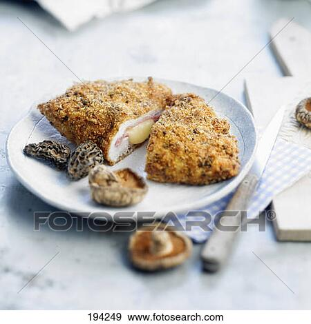 stock photograph of escalope cordon bleu with mushrooms. Black Bedroom Furniture Sets. Home Design Ideas