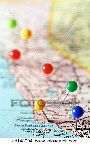 stock photo of pins marking place on map cd148004 search stock