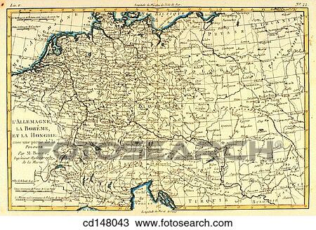 Map Of Central Germany.Central Europe Germany Bohemia And Hungary 18th Century Map Stock Image
