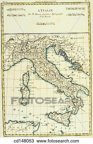 Colección de foto   italia, siglo xviii, mapa cd148053   Buscar