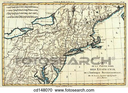 United States of America (New England, New Jersey, Pennsylvania), 18th  century map Stock Image