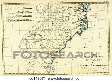 Map Of America Georgia.United States Of America Virgina North And South Carolina Georgia 18th Century Map Stock Image
