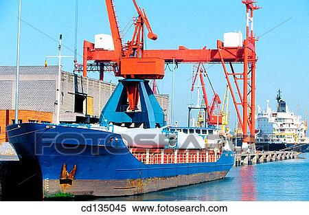 Cargo ship carrying wind turbine parts  Bilbao  Basque Country  Spain Stock  Photography