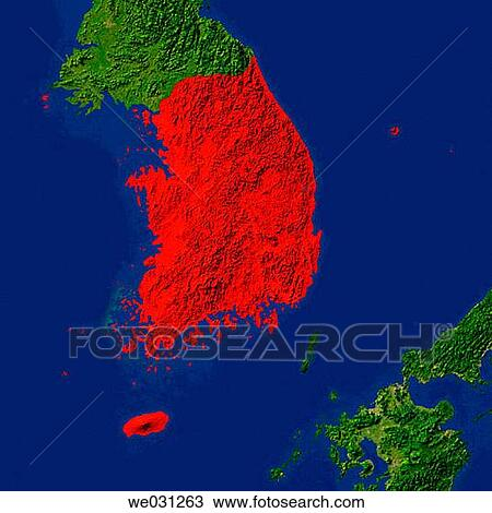 Stock photo of highlighted satellite image of south korea we031263 highlighted satellite image of south korea gumiabroncs