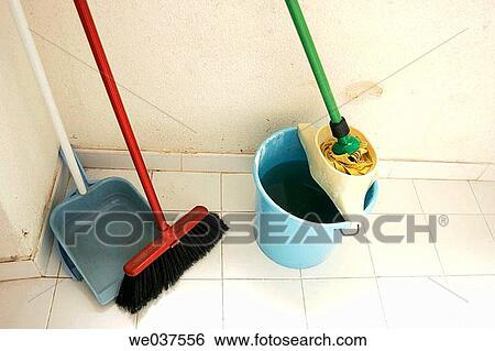 Stock Images Of Broom Dustpan Mop And Bucket We037556 Search