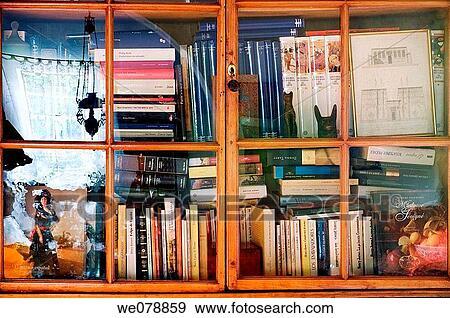 Stock Fotografie - at-home, gesloten, boekenkast, boek, regeling ...