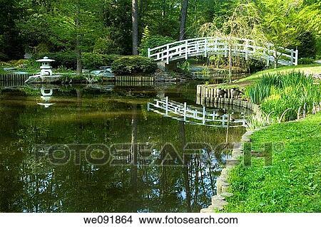 Japanische Zen Garten Mit Gewölbt Mond Brücke Und Pagode Bild
