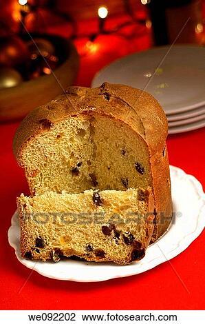 Italian Christmas Cake.Panettone Italian Christmas Cake On Plate Stock Image
