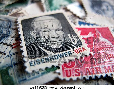 Stock Photo Of US Postage Stamp With Face President Eisenhower