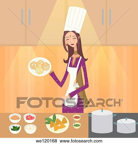 Female Chef Showing Indian Food Stock Photo We120168 Fotosearch