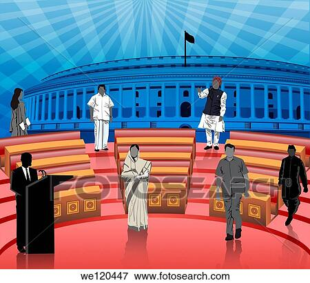 Politicians in front of a parliament house, Sansad Bhawan ...