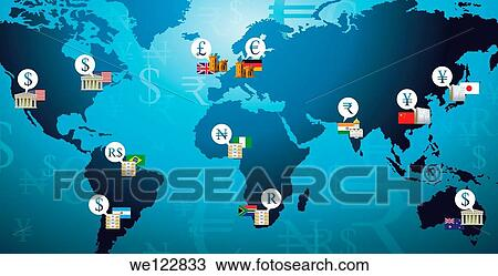 Illustration shot of currency symbols representing countries in a world map  Stock Image