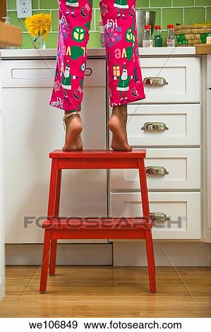 Superb Girl With Step Stool In Kitchen Model Release Rf 09 03 Creativecarmelina Interior Chair Design Creativecarmelinacom