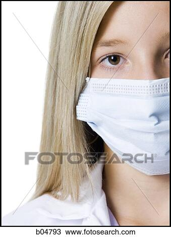 Closeup Of Surgical Image With Stock Girl Mask