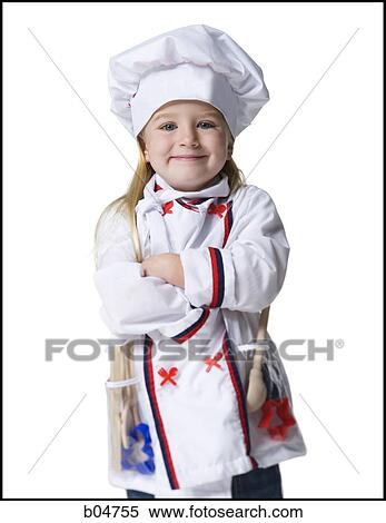Stock Image Of Girl In Halloween Chef Costume B04755 Search Stock
