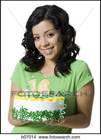 Astonishing Teenage Girl With Birthday Cake And Candles Picture B07014 Birthday Cards Printable Opercafe Filternl