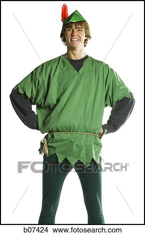 Stock Photo - Teenager boy in a Robin Hood costume. Fotosearch - Search Stock Images  sc 1 st  Fotosearch & Stock Photo of Teenager boy in a Robin Hood costume b07424 - Search ...