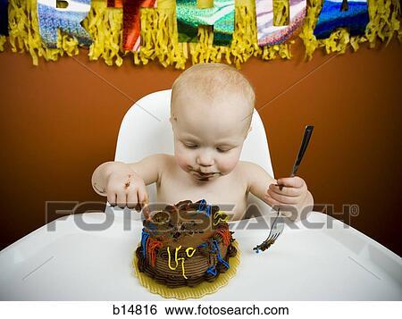 Superb Baby Eating Birthday Cake Stock Photograph B14816 Fotosearch Funny Birthday Cards Online Hendilapandamsfinfo