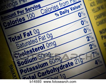 stock photo of closeup of nutrition label on food box b14593