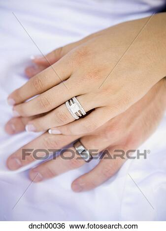 Which Hand Wedding Ring Female.Male And Female Hands With Wedding Rings Standartinė Fotografija