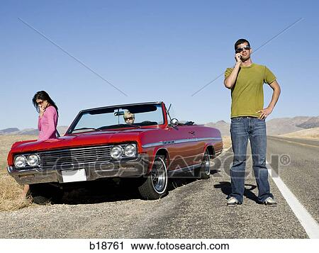 Man With A Broken Down Car Stock Image