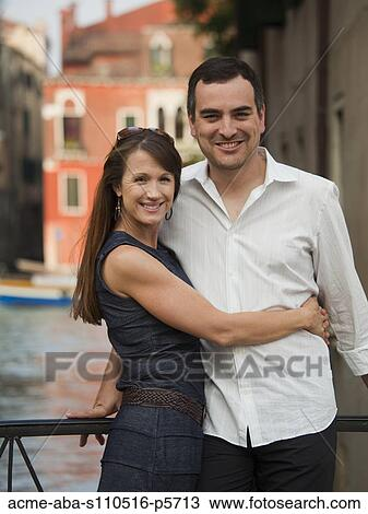 Couple Mature stock photo of italy, venice, mature couple posing on bridge acme