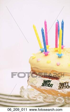 Food Still Life Cake Candles Candle Birthday Plates Dessert Yellow