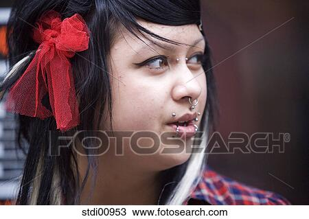 Shop Woman Barrette Lip Piercing Nose Piercing Black Hair To