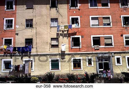 Stock Photo Run Down Apartment Block Cantabria Spain Fotosearch