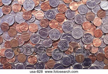 Bilder Haufen Von Unterschiedliche Amerikanische Münzen Usa 828