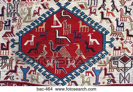 South American Indian Rug With Animal Designs