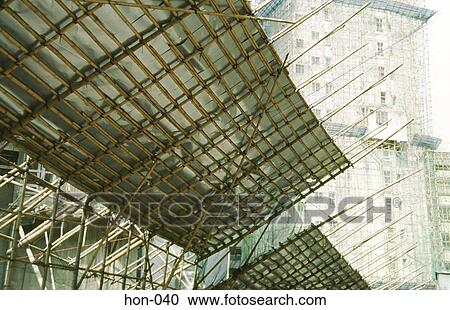 Stock Fotografie Bambus Gerustbau In Baustelle Hongkong Hon