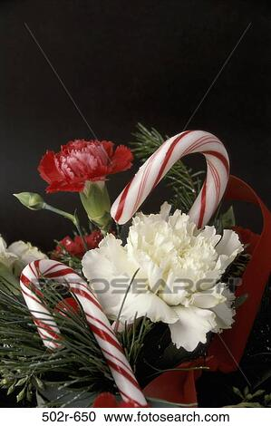 Christmas Flower Decorations.Candy Christmas Flowers Arrangement Decorations Flower Arrangement Carnations Stock Image