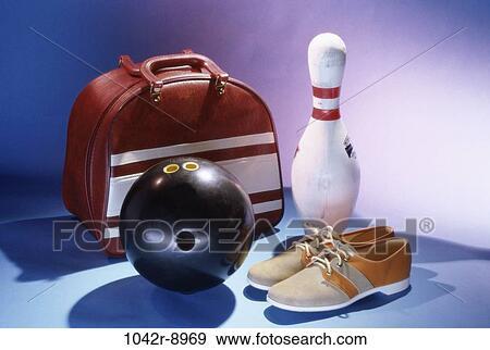 Balle, chaussures, sports, sac, équipement sports, nature morte, épingle Banque de Photo